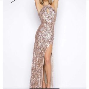 Gold Sequin Mac Duggal with train and slit